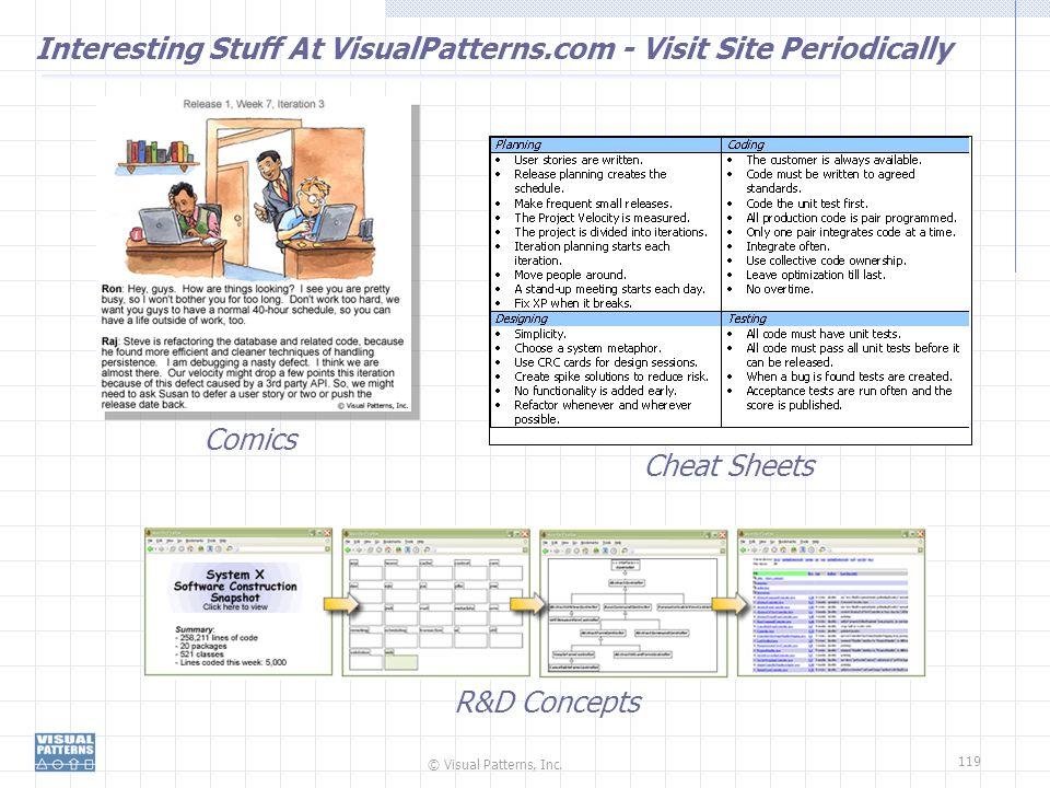 © Visual Patterns, Inc. 119 Interesting Stuff At VisualPatterns.com - Visit Site Periodically Comics Cheat Sheets R&D Concepts