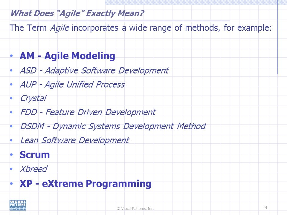 © Visual Patterns, Inc.14 What Does Agile Exactly Mean.