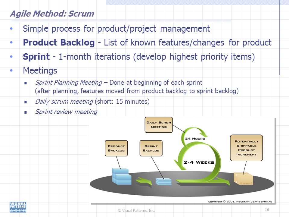© Visual Patterns, Inc. 16 Agile Method: Scrum Simple process for product/project management Product Backlog - List of known features/changes for prod
