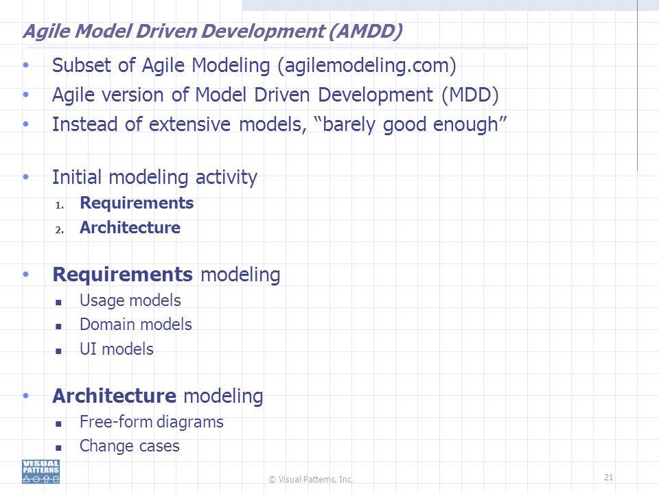 © Visual Patterns, Inc. 21 Agile Model Driven Development (AMDD) Subset of Agile Modeling (agilemodeling.com) Agile version of Model Driven Developmen