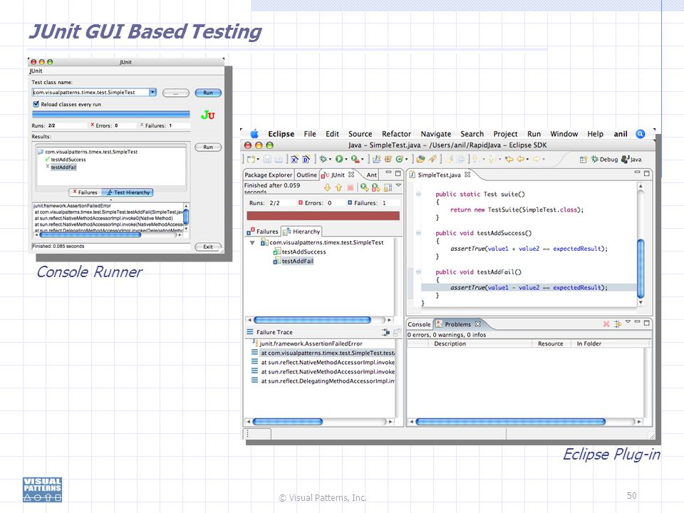 © Visual Patterns, Inc. 50 JUnit GUI Based Testing Console Runner Eclipse Plug-in