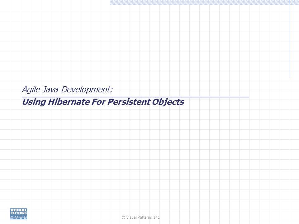 © Visual Patterns, Inc. Agile Java Development: Using Hibernate For Persistent Objects