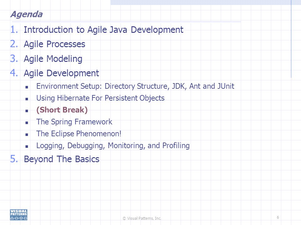 © Visual Patterns, Inc. 6 Agenda 1. Introduction to Agile Java Development 2. Agile Processes 3. Agile Modeling 4. Agile Development Environment Setup