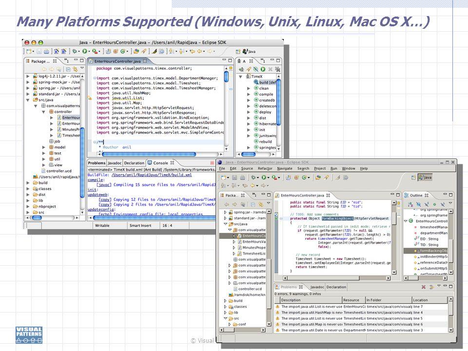 © Visual Patterns, Inc. 87 Many Platforms Supported (Windows, Unix, Linux, Mac OS X…)