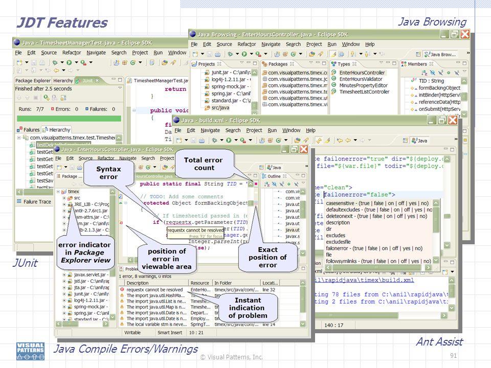 © Visual Patterns, Inc. 91 JDT Features Ant Assist Java Browsing Java Compile Errors/Warnings JUnit