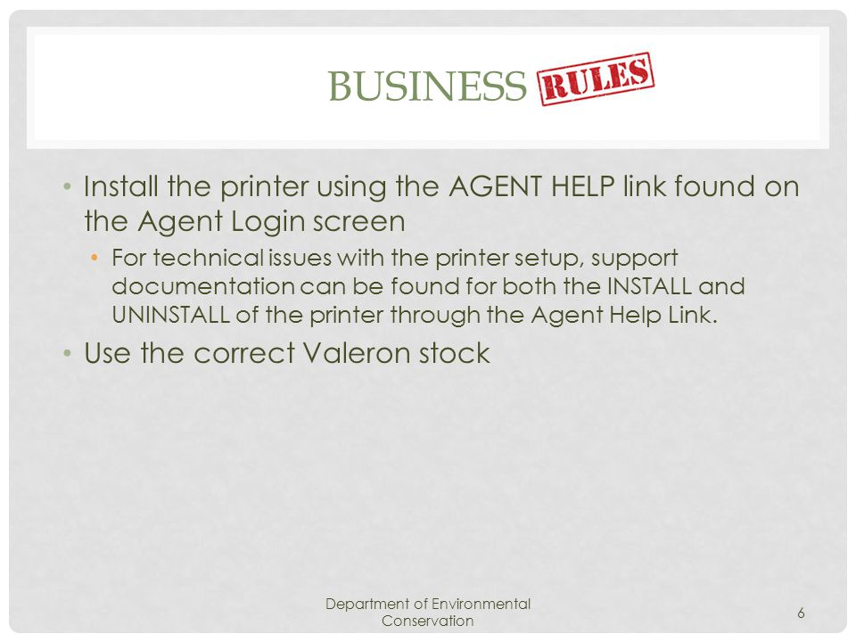INSTALL PRINTER DRIVERS THROUGH AGENT HELP LINK Department of Environmental Conservation 27 Click This Windows Security message MAY display.