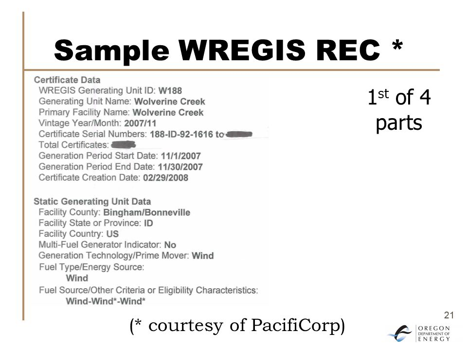 21 Sample WREGIS REC * 1 st of 4 parts (* courtesy of PacifiCorp)