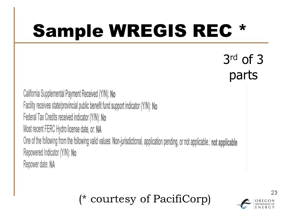 23 Sample WREGIS REC * 3 rd of 3 parts (* courtesy of PacifiCorp)