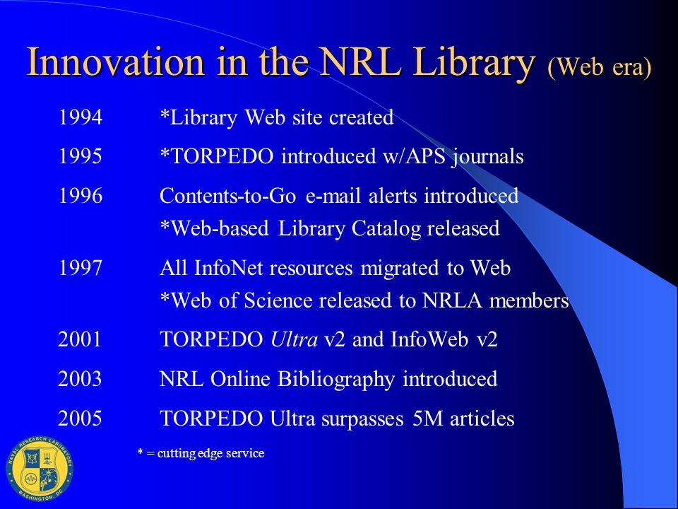 Innovation in the NRL Library (Web era) 1994*Library Web site created 1995*TORPEDO introduced w/APS journals 1996 Contents-to-Go e-mail alerts introdu