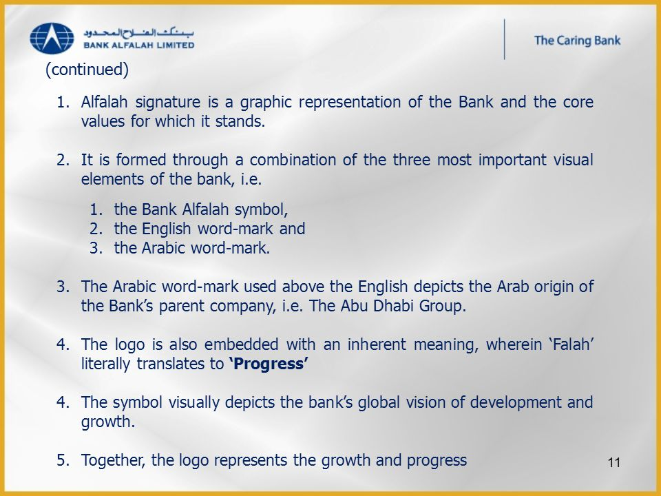 1.Alfalah signature is a graphic representation of the Bank and the core values for which it stands.