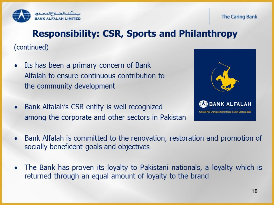 Responsibility: CSR, Sports and Philanthropy Its has been a primary concern of Bank Alfalah to ensure continuous contribution to the community develop