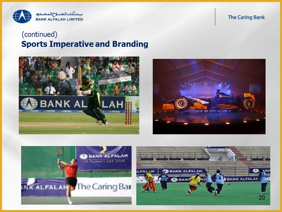 Sports Imperative and Branding (continued) 20