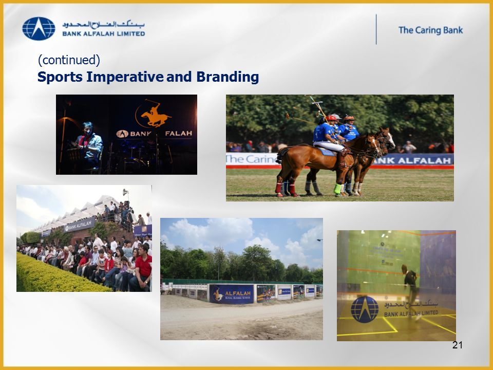 Sports Imperative and Branding (continued) 21