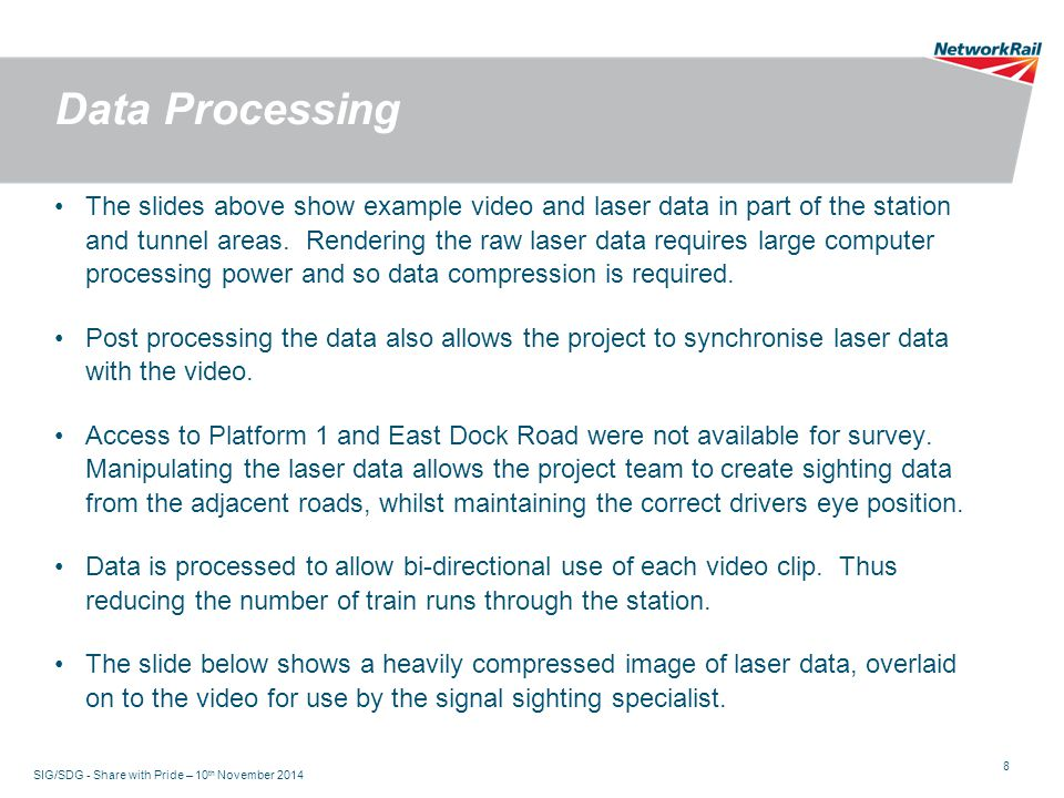 8 Data Processing The slides above show example video and laser data in part of the station and tunnel areas.