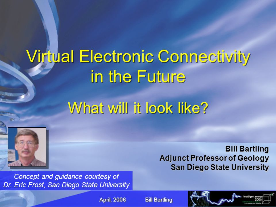 April, 2006 Bill Bartling Virtual Electronic Connectivity in the Future What will it look like.