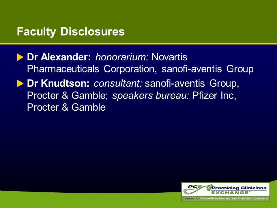 Faculty Disclosures  Dr Alexander: honorarium: Novartis Pharmaceuticals Corporation, sanofi-aventis Group  Dr Knudtson: consultant: sanofi-aventis Group, Procter & Gamble; speakers bureau: Pfizer Inc, Procter & Gamble