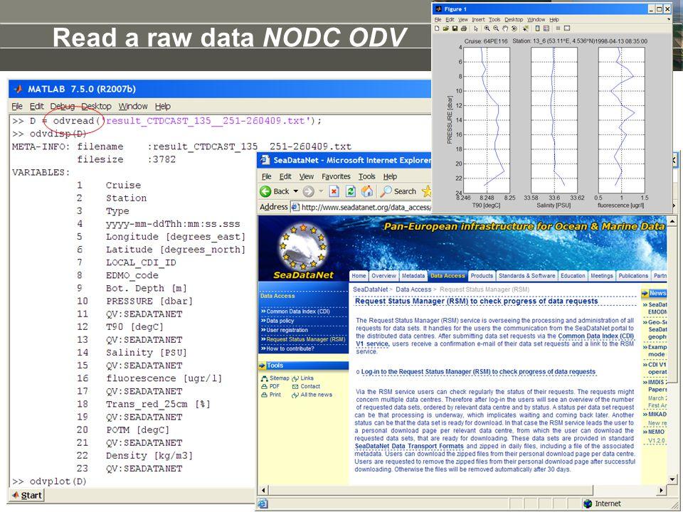 Read a raw data NODC ODV