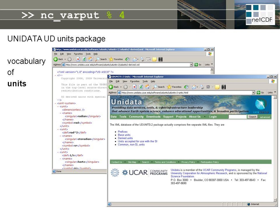 UNIDATA UD units package vocabulary of units