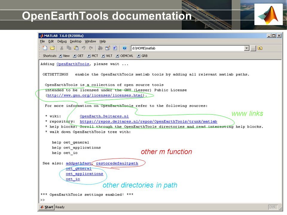 OpenEarthTools documentation other directories in path other m function www links