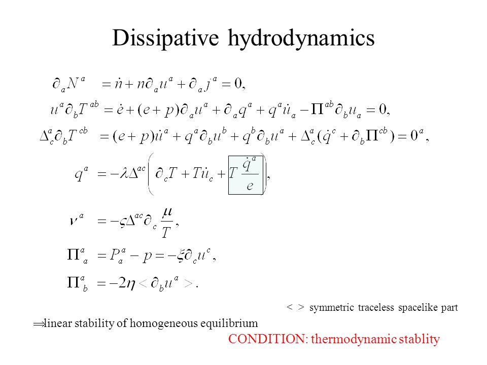 Dissipative hydrodynamics symmetric traceless spacelike part  linear stability of homogeneous equilibrium CONDITION: thermodynamic stablity