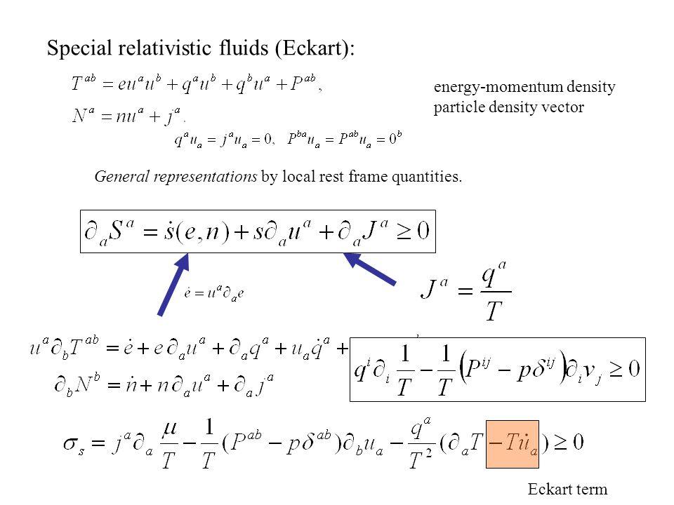 Special relativistic fluids (Eckart): Eckart term General representations by local rest frame quantities.