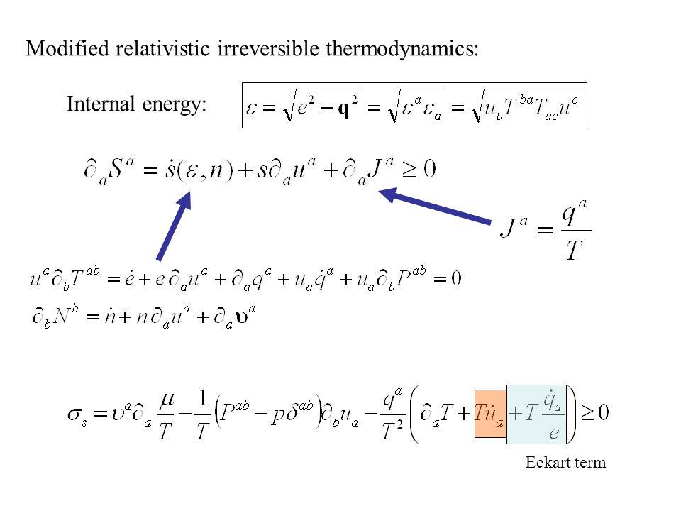 Modified relativistic irreversible thermodynamics: Eckart term Internal energy: