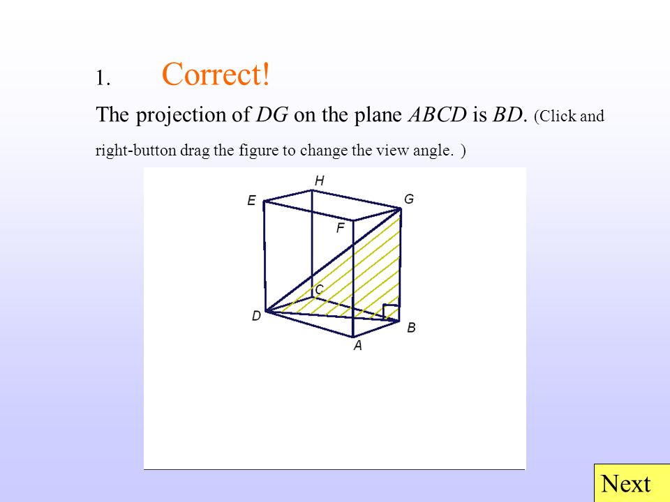 1. Correct. Next The projection of DG on the plane ABCD is BD.