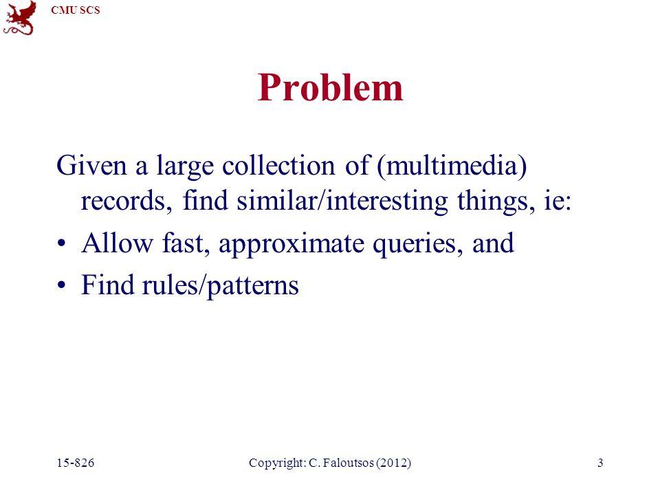 CMU SCS 15-826Copyright: C. Faloutsos (2012)64 Overview B – trees B+ - trees, B*-trees hashing