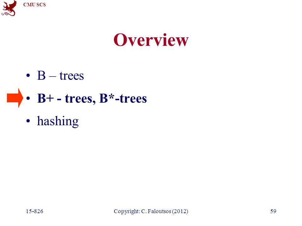 CMU SCS 15-826Copyright: C. Faloutsos (2012)59 Overview B – trees B+ - trees, B*-trees hashing