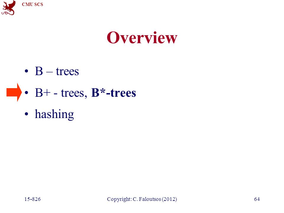 CMU SCS 15-826Copyright: C. Faloutsos (2012)64 Overview B – trees B+ - trees, B*-trees hashing