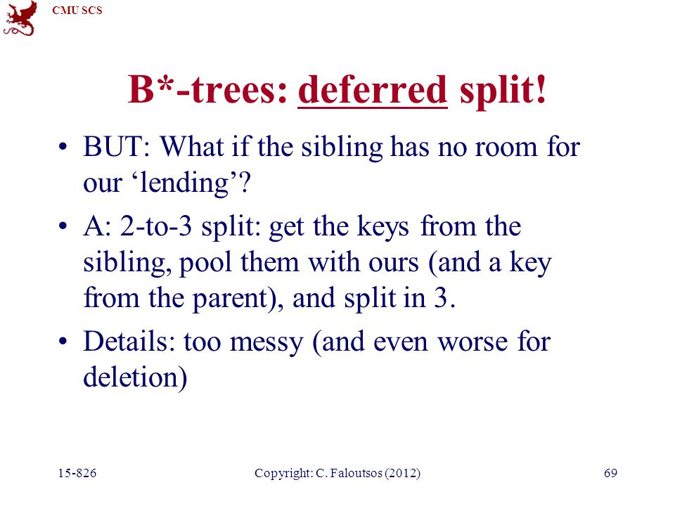 CMU SCS Copyright: C. Faloutsos (2012)69 B*-trees: deferred split.
