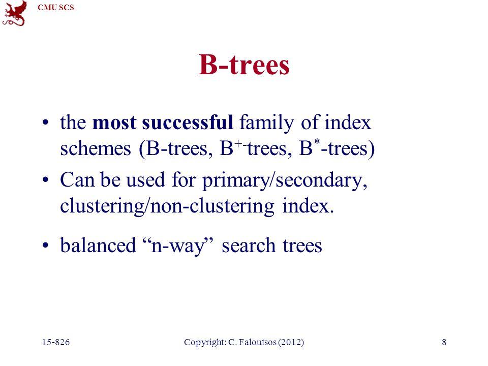 CMU SCS 15-826Copyright: C. Faloutsos (2012)59 Overview B – trees B+ - trees, B*-trees hashing