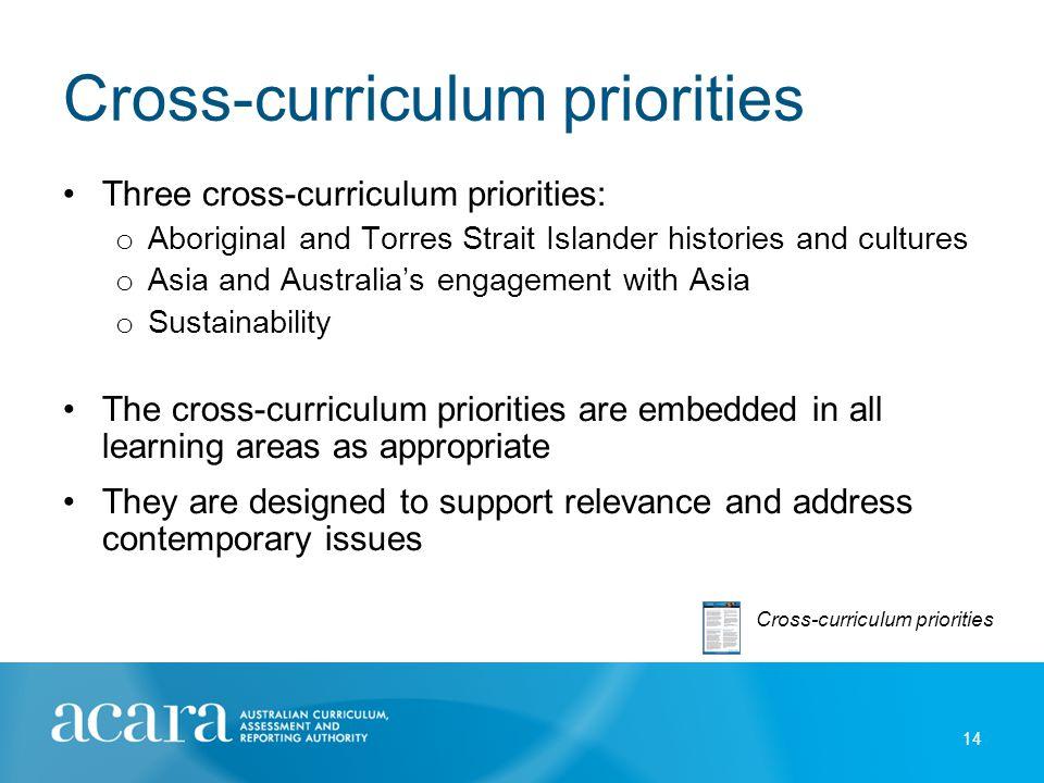 Cross-curriculum priorities Three cross-curriculum priorities: o Aboriginal and Torres Strait Islander histories and cultures o Asia and Australia's e