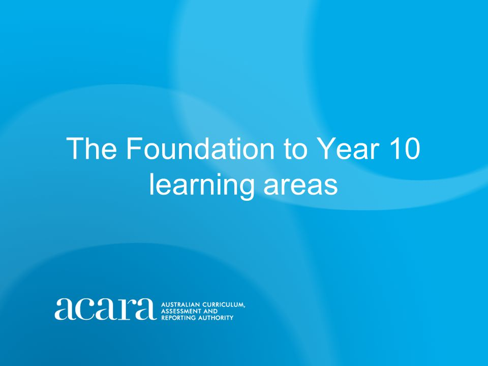 The Foundation to Year 10 learning areas