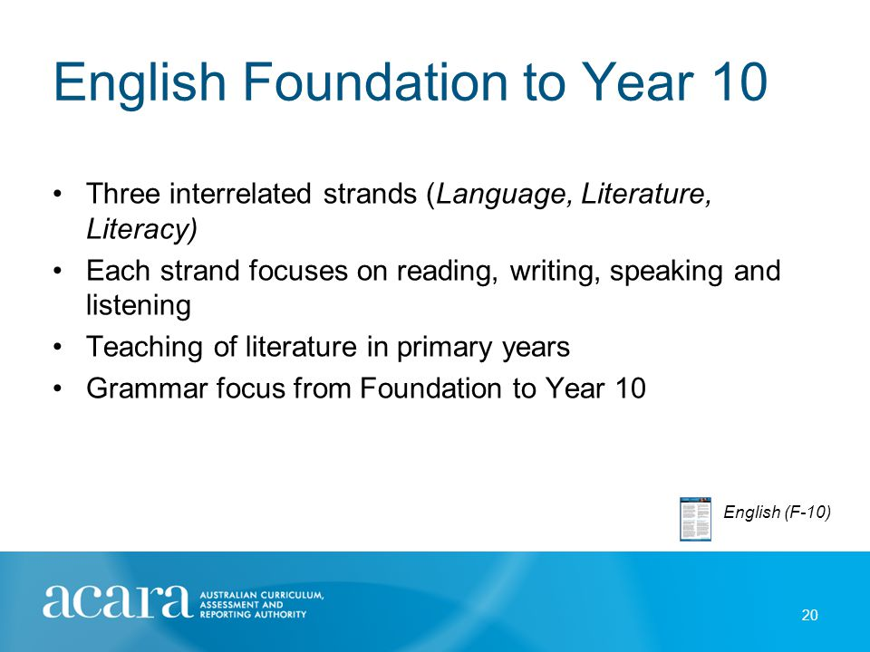 English Foundation to Year 10 Three interrelated strands (Language, Literature, Literacy) Each strand focuses on reading, writing, speaking and listen