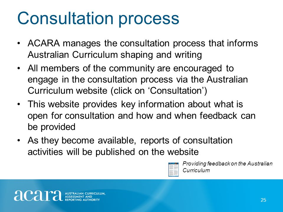 Consultation process ACARA manages the consultation process that informs Australian Curriculum shaping and writing All members of the community are en