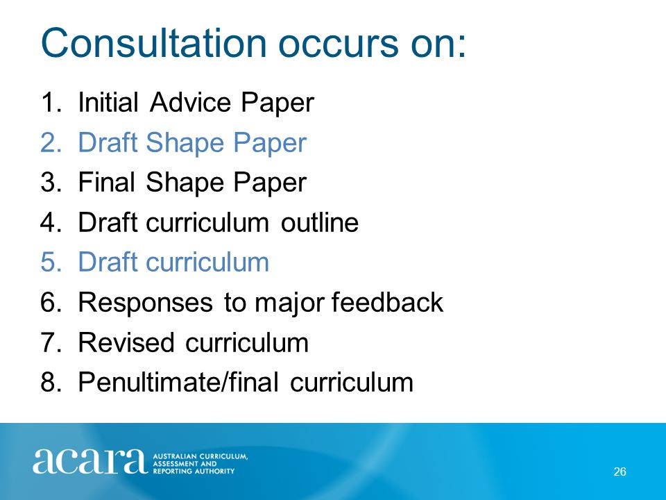Consultation occurs on: 26 1.Initial Advice Paper 2.Draft Shape Paper 3.Final Shape Paper 4.Draft curriculum outline 5.Draft curriculum 6.Responses to