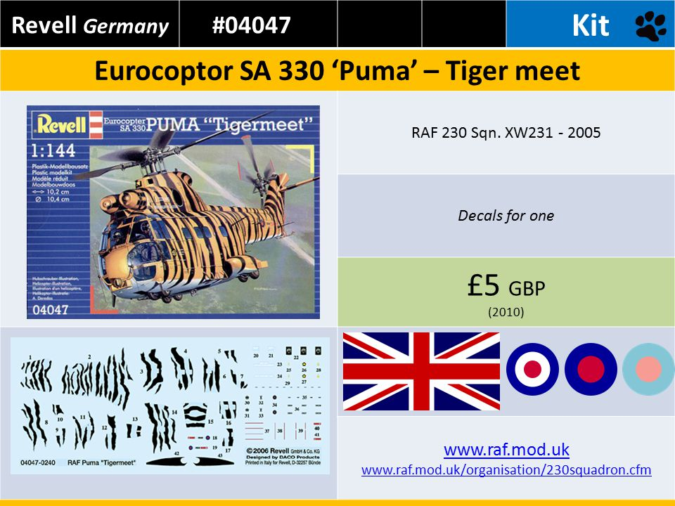 Revell Germany #04047 Kit Eurocoptor SA 330 'Puma' – Tiger meet RAF 230 Sqn.