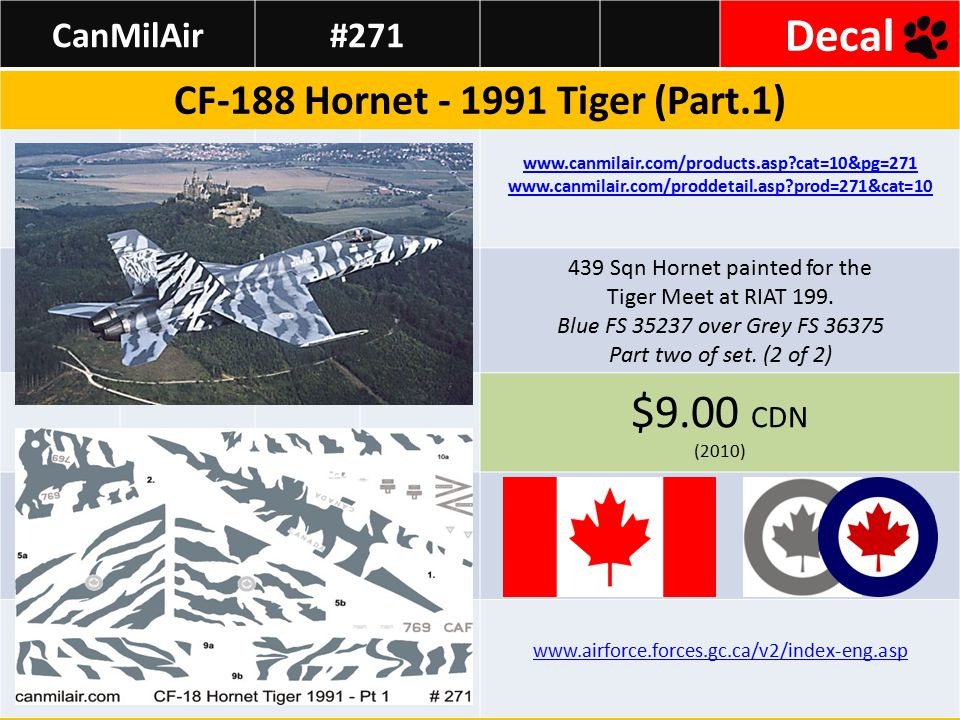 CanMilAir#272 Decal CF-188 Hornet - 1991 Tiger (Part II) www.canmilair.com/products.asp?cat=10&pg=272 www.canmilair.com/proddetail.asp?prod=272&cat=10 439 Sqn Hornet painted for the Tiger Meet at RIAT 199.