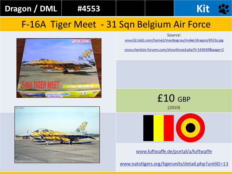 Dragon / DML#4553 Kit F-16A Tiger Meet - 31 Sqn Belgium Air Force Source: www32.tok2.com/home2/manbogray/mokei/dragon/4553s.jpg www.checksix-forums.com/showthread.php t=143669&page=2 £10 GBP (2010) www.luftwaffe.de/portal/a/luftwaffe www.natotigers.org/tigerunits/detail.php unitID=13