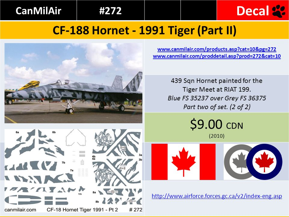 CanMilAir#272 Decal CF-188 Hornet - 1991 Tiger (Part II) www.canmilair.com/products.asp cat=10&pg=272 www.canmilair.com/proddetail.asp prod=272&cat=10 439 Sqn Hornet painted for the Tiger Meet at RIAT 199.
