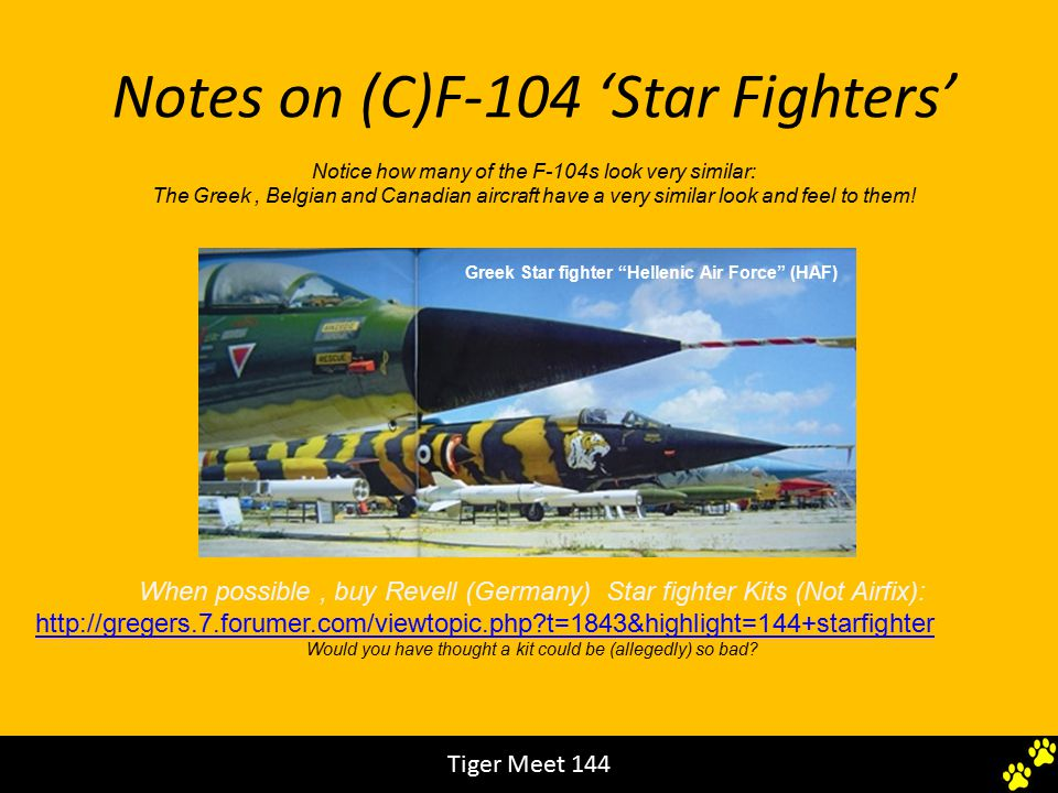 Notes on (C)F-104 'Star Fighters' Notice how many of the F-104s look very similar: The Greek, Belgian and Canadian aircraft have a very similar look and feel to them.