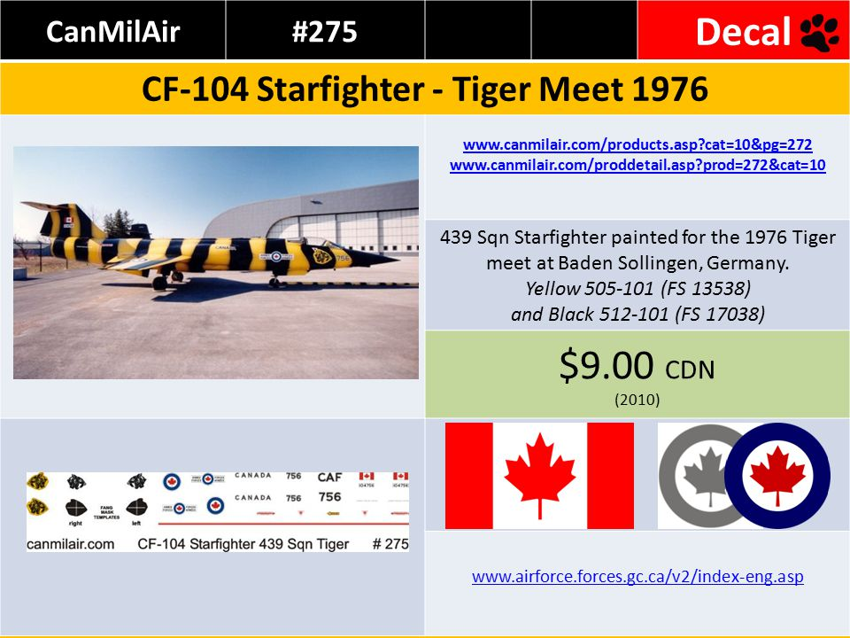 Rose Ridge#1143 Decal CF-104 Tiger Meets 1981 + 1982 Source: http://www.i-f-s.nl/index71.htmhttp://www.i-f-s.nl/index71.htm www.rose-ridge.com/144-cf104-tiger.htm www.rose-ridge.com/rose-ridge%20web%20shop.htm Decal Sheet for TWO versions #796 & #761 10.71 Euro (2010) www.airforce.forces.gc.ca/v2/index-eng.asp