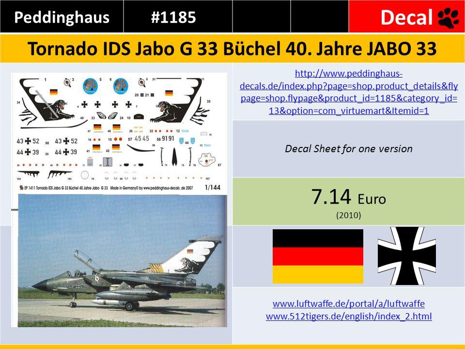 Peddinghaus#1185 Decal Tornado IDS Jabo G 33 Büchel 40. Jahre JABO 33 http://www.peddinghaus- decals.de/index.php?page=shop.product_details&fly page=s