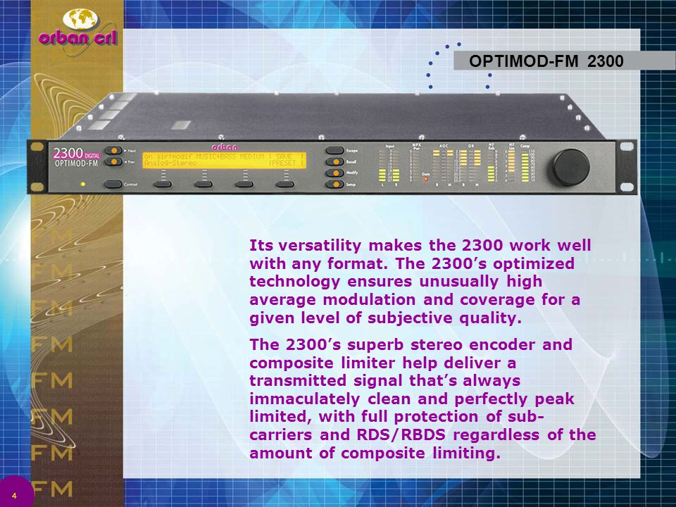 35 The all-digital OPTIMOD-TV 8382 audio processor can help you achieve excellent audio quality and loudness consistency in analog television broadcasting that uses FM aural- carriers with 75 µs or 50 µs pre-emphasis.