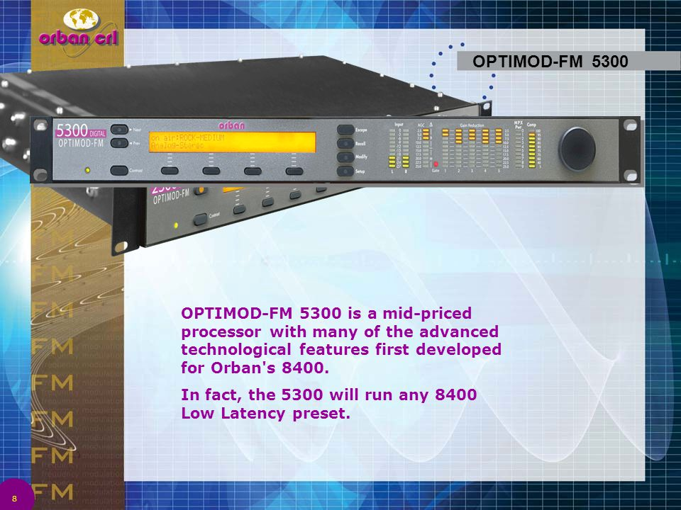 39 The 8382 is remote controllable via eight programmable GPI ports, which can be used to recall presets and change operating modes.