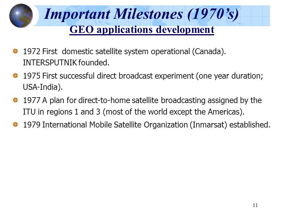 11 Important Milestones (1970's) GEO applications development 1972 First domestic satellite system operational (Canada). INTERSPUTNIK founded. 1975 Fi