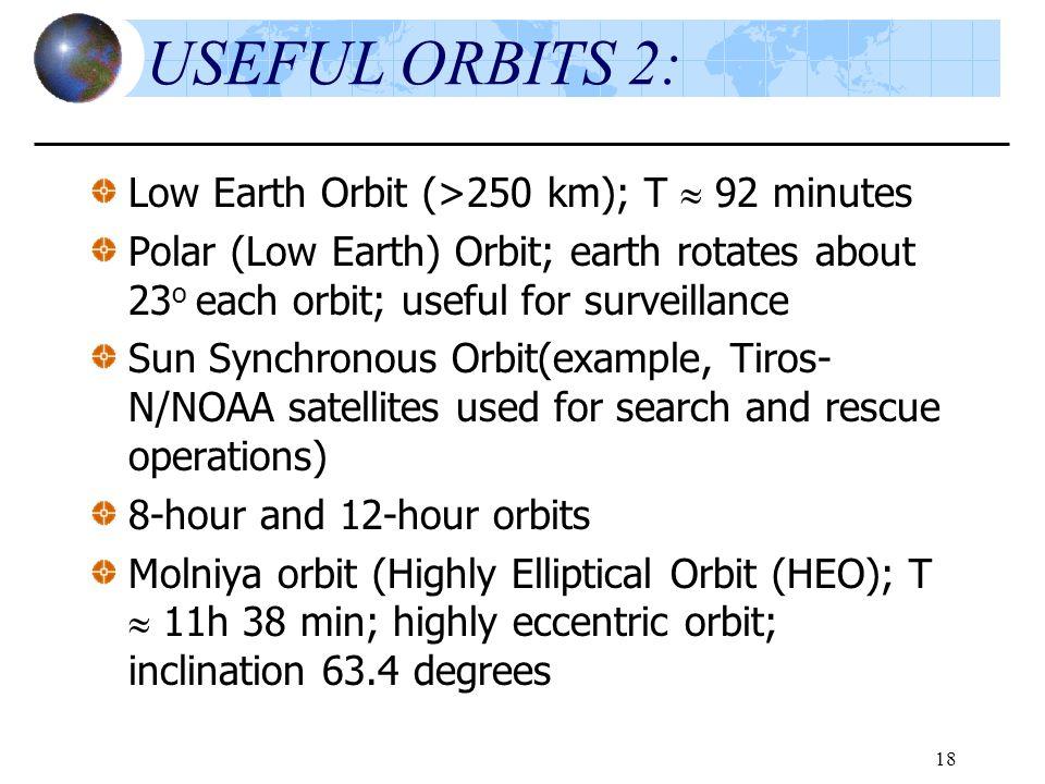 18 USEFUL ORBITS 2: Low Earth Orbit (>250 km); T  92 minutes Polar (Low Earth) Orbit; earth rotates about 23 o each orbit; useful for surveillance Su