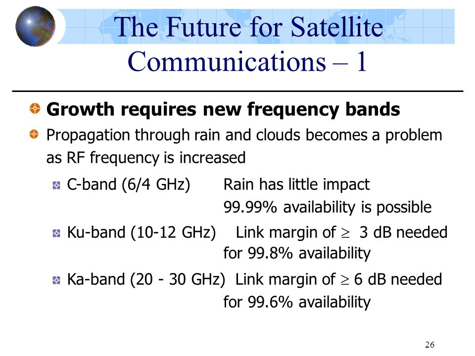 26 Growth requires new frequency bands Propagation through rain and clouds becomes a problem as RF frequency is increased C-band (6/4 GHz) Rain has li
