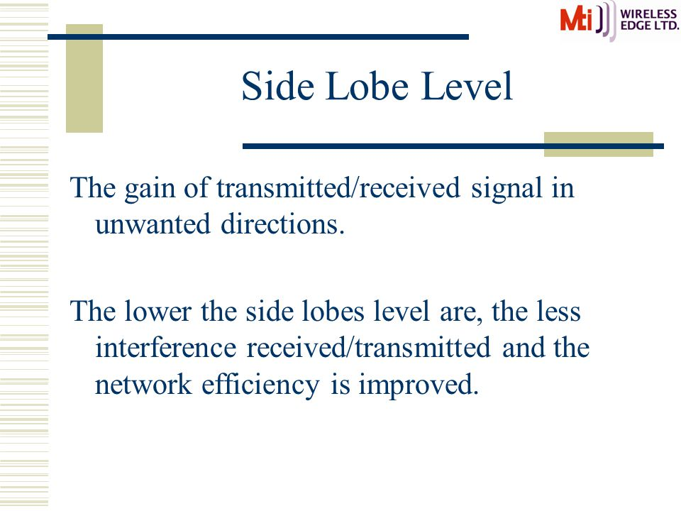 Side Lobe Level The gain of transmitted/received signal in unwanted directions.